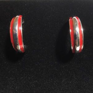 Jewelry - Silver and red hoop earrings